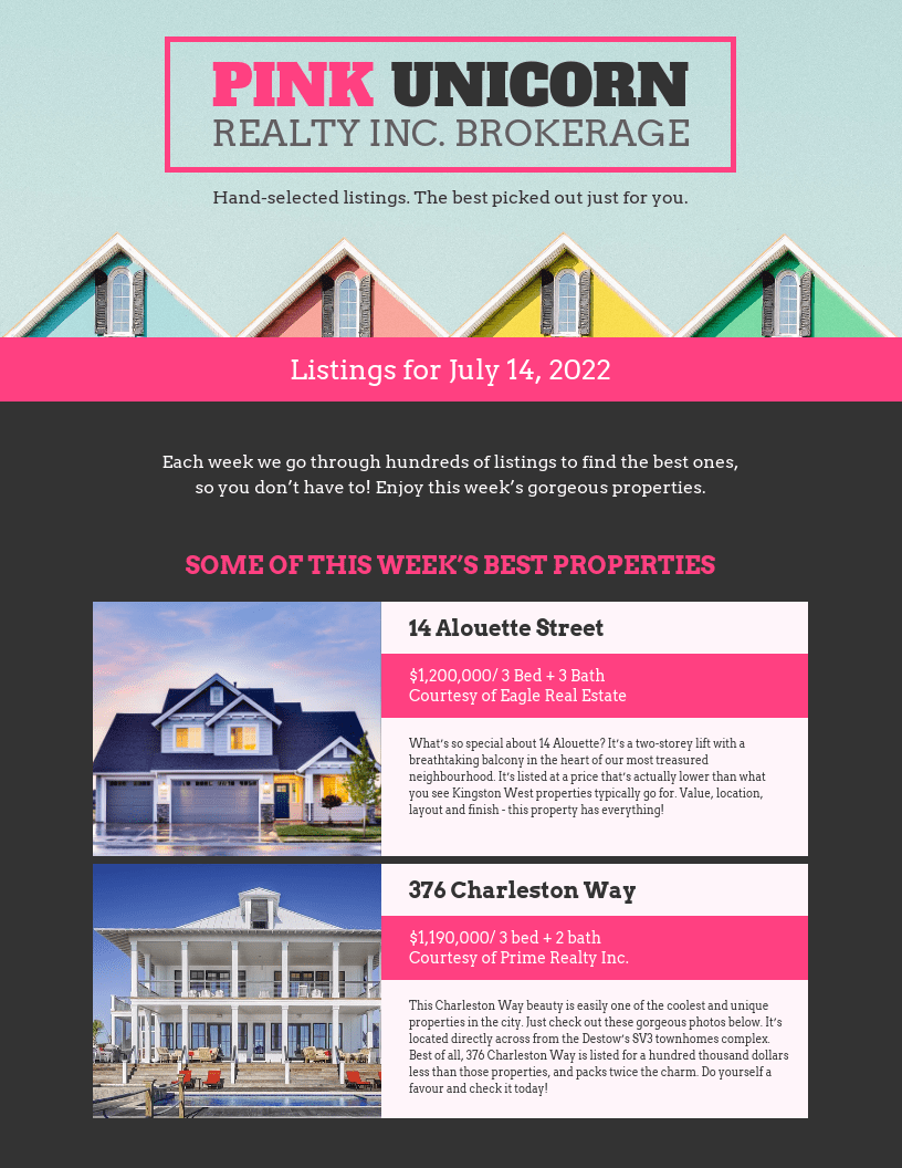 real estate pink flyer template