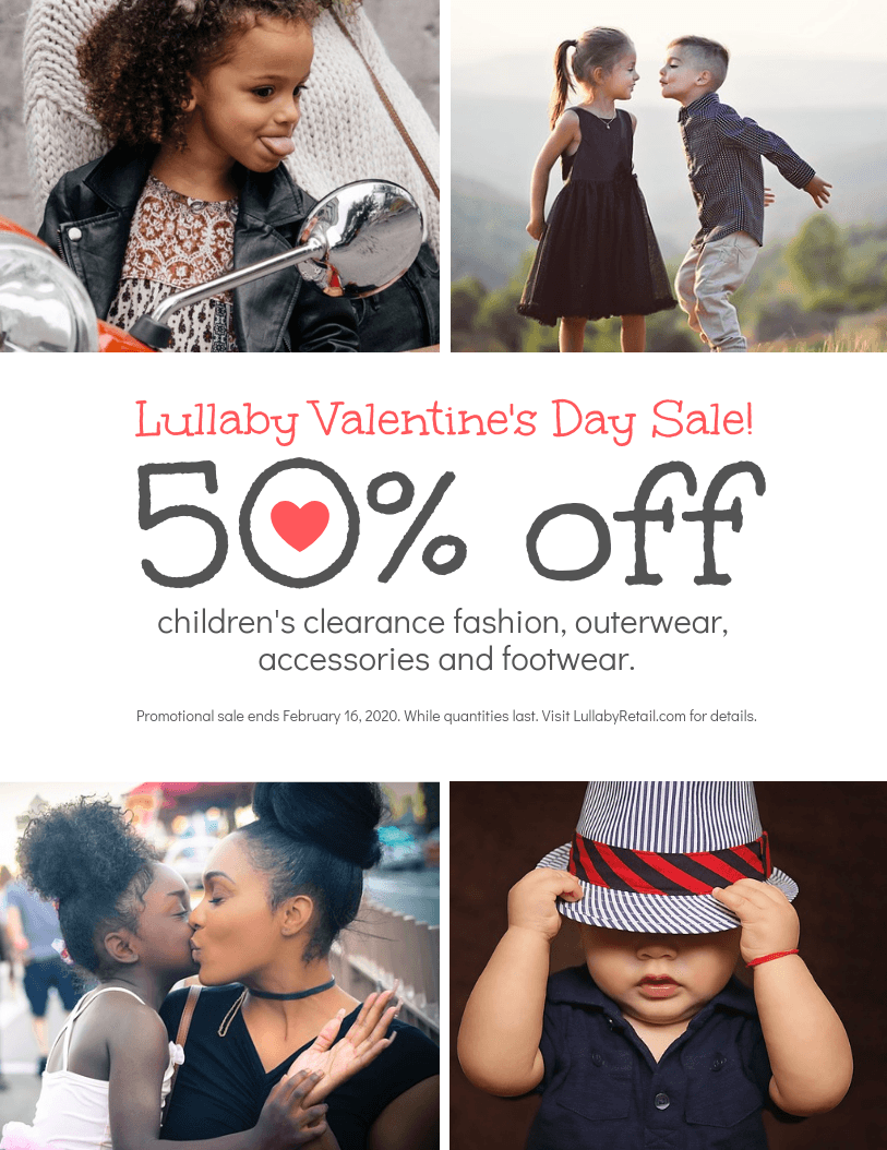 retail valentines day promotion flyer template