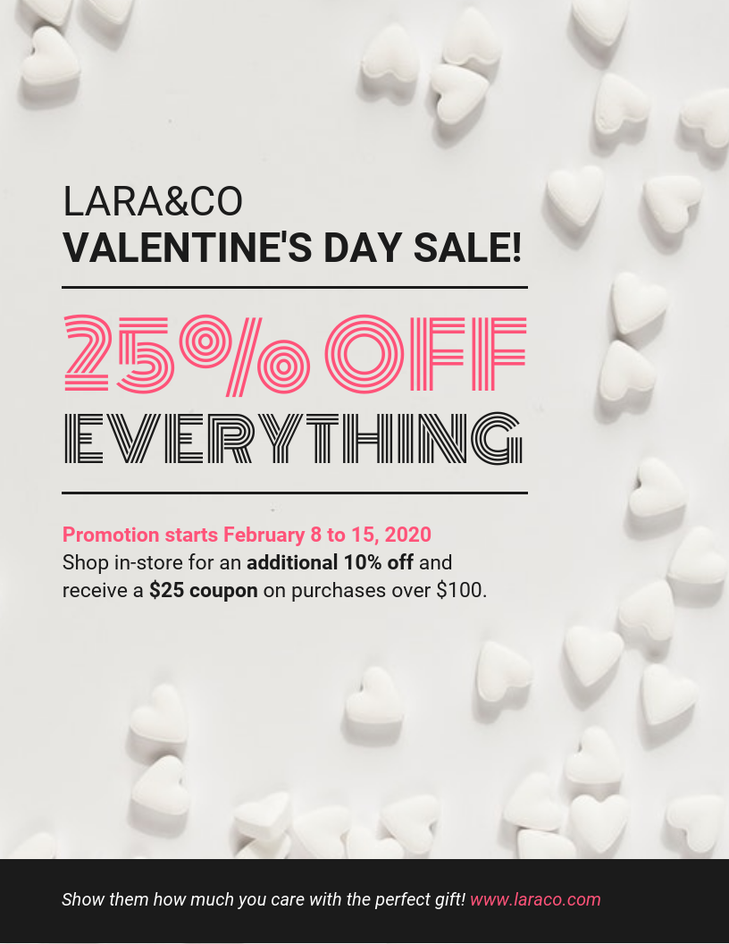 simple valentines day sale flyer template