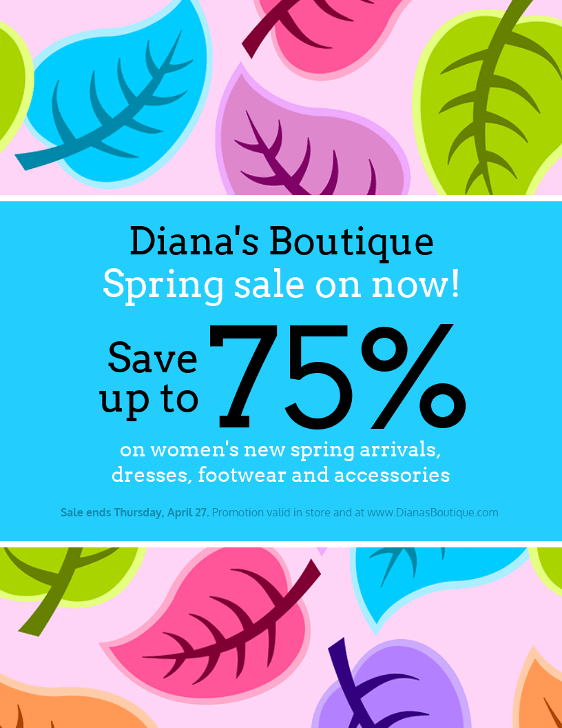 spring sale clothing sale flyer template