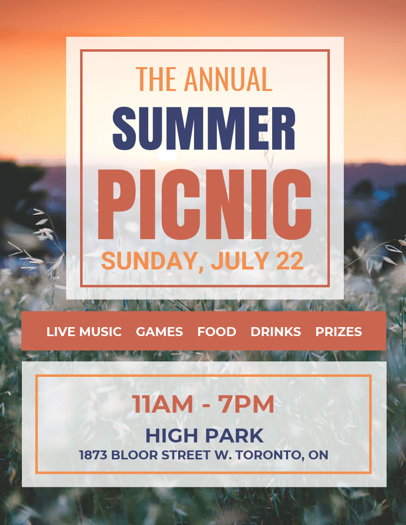 summer picnic event flyer template