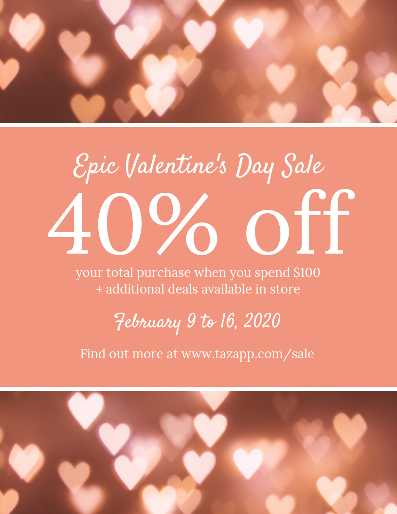 valentines sale flyer template