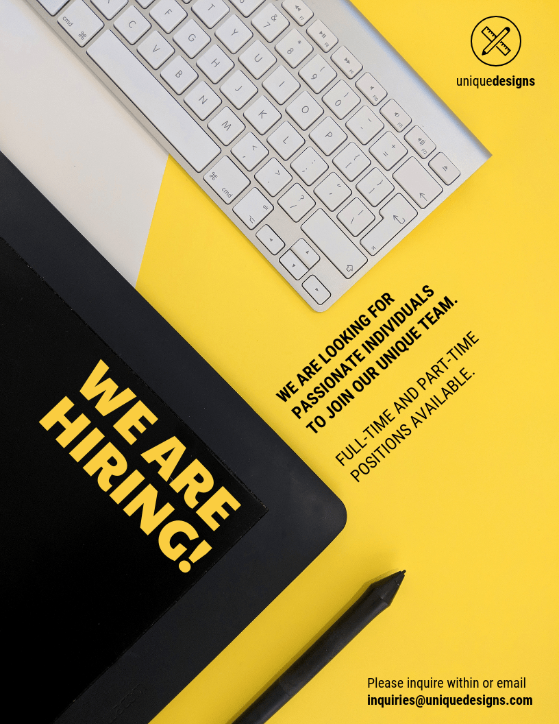 yellow now hiring flyer template