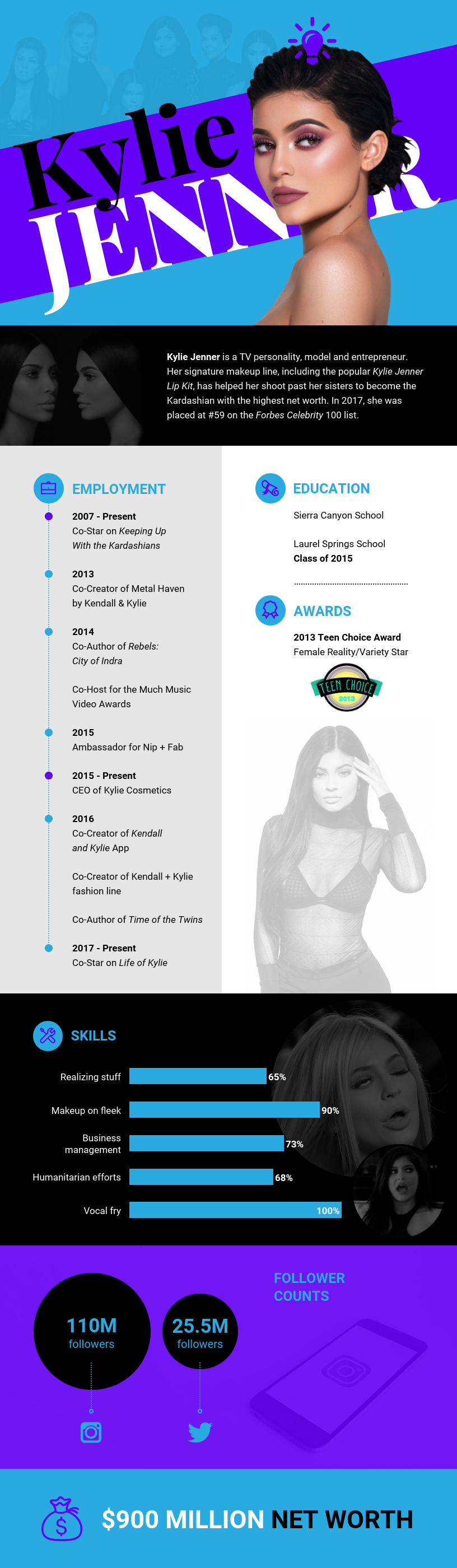 kylie jenner infographic resume