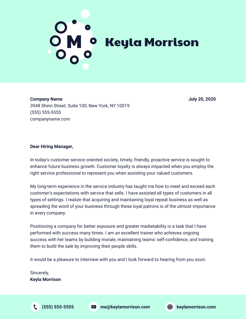 Blue Entry Level Cover Letter Template