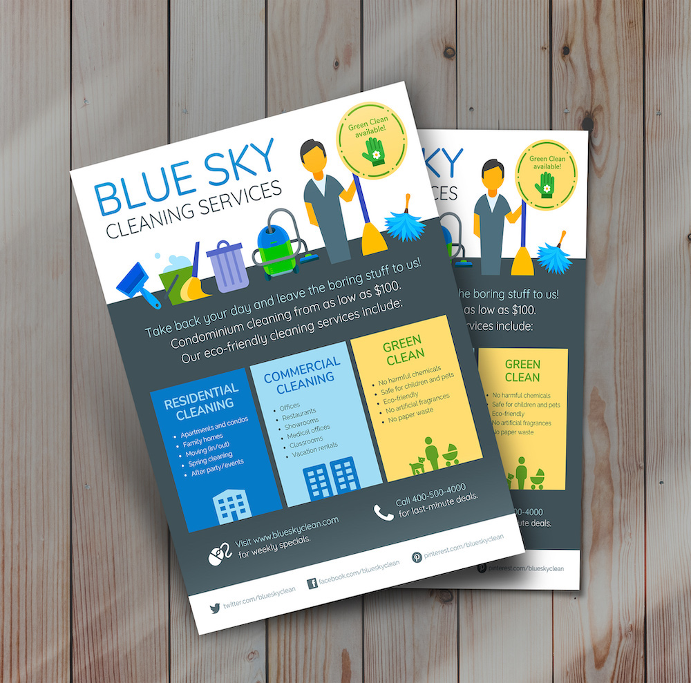 Blue Home Cleaning Flyer Template