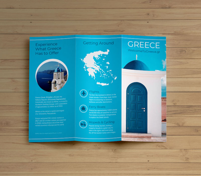 Blue Travel Marketing Trifold Brochure Template