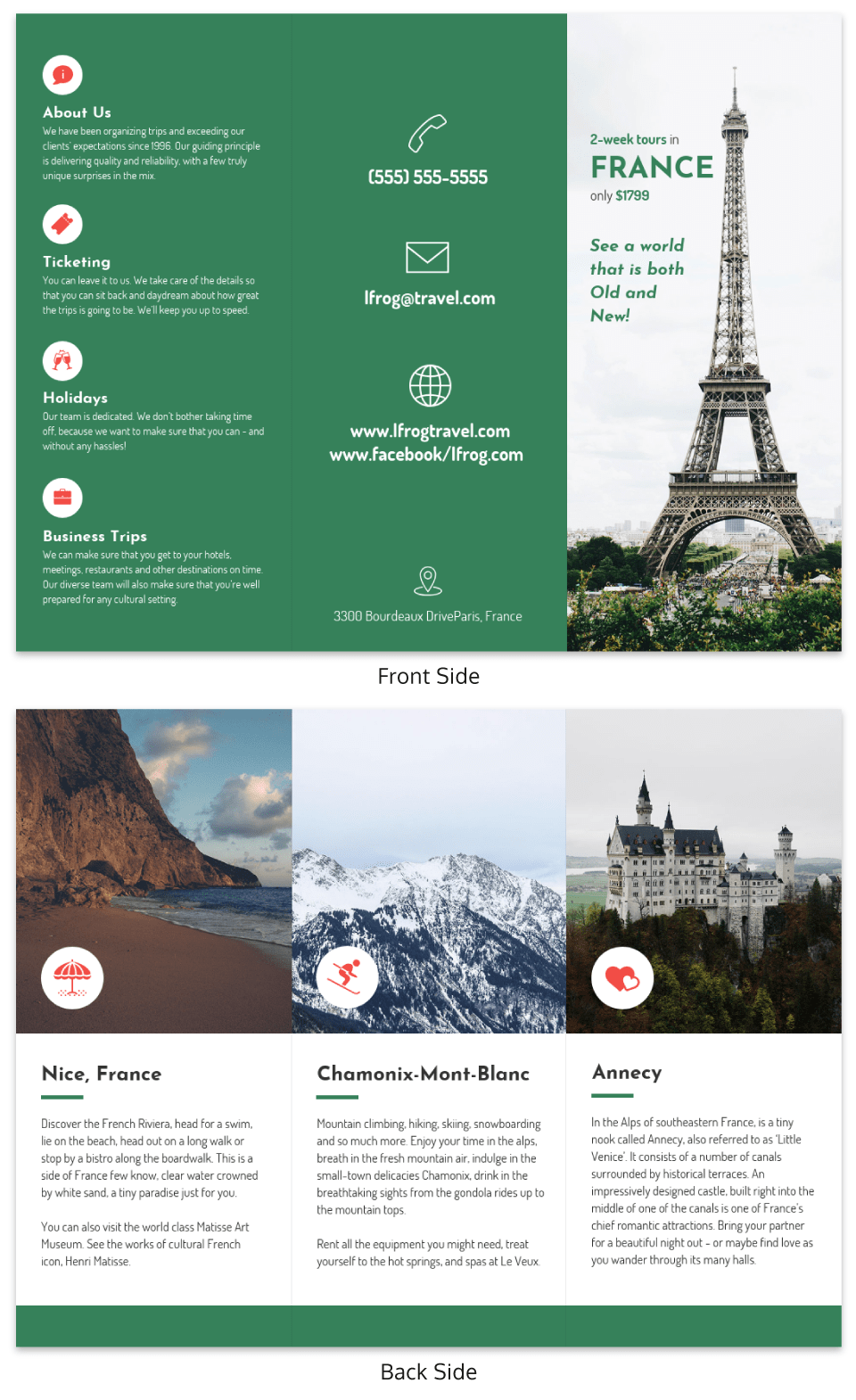 Green France TriFold Travel Brochure Example