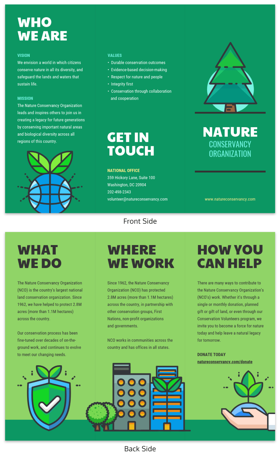 Green Nonprofit Marketing Brochure Example