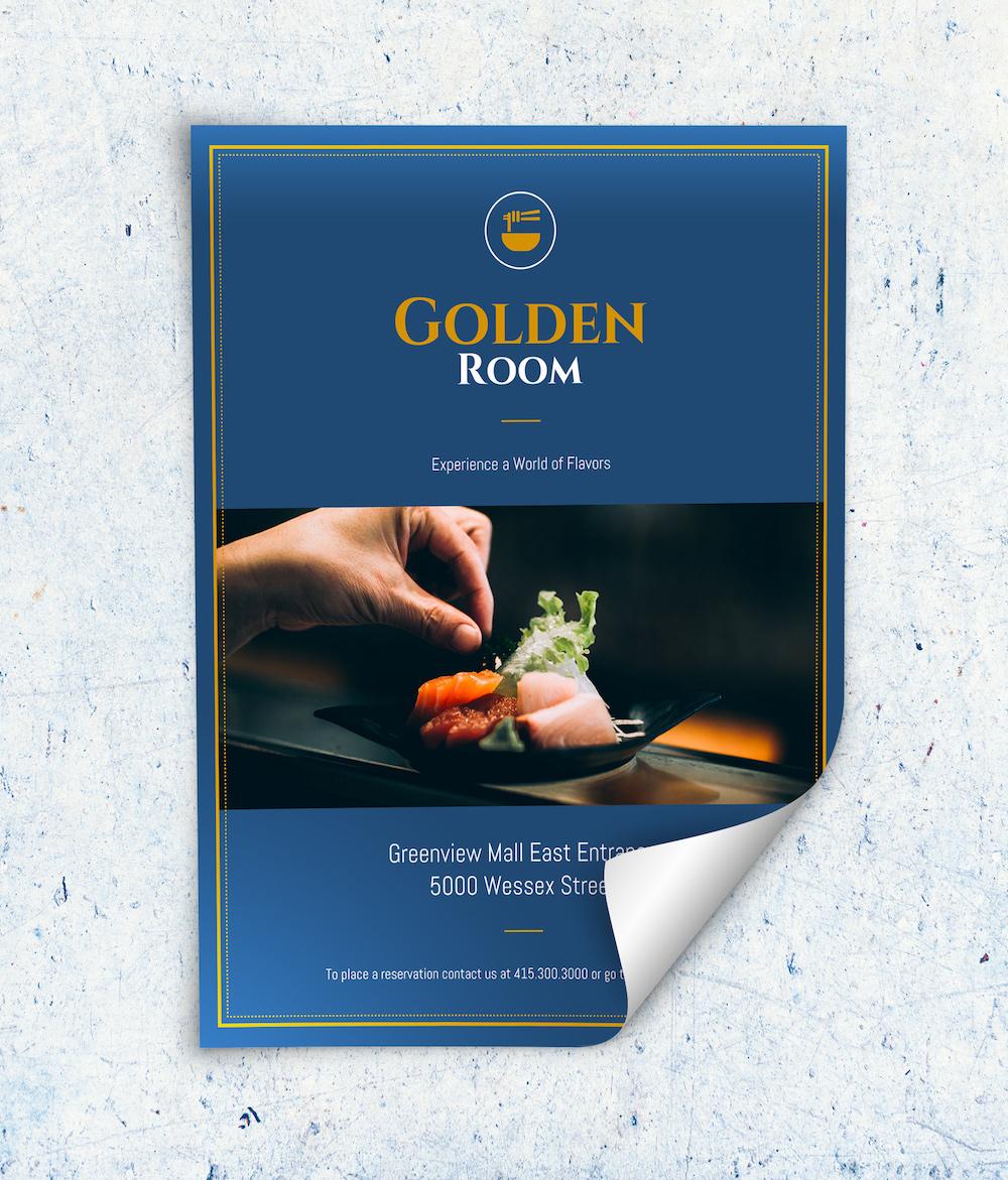 Modern Blue Restaurant Flyer Template