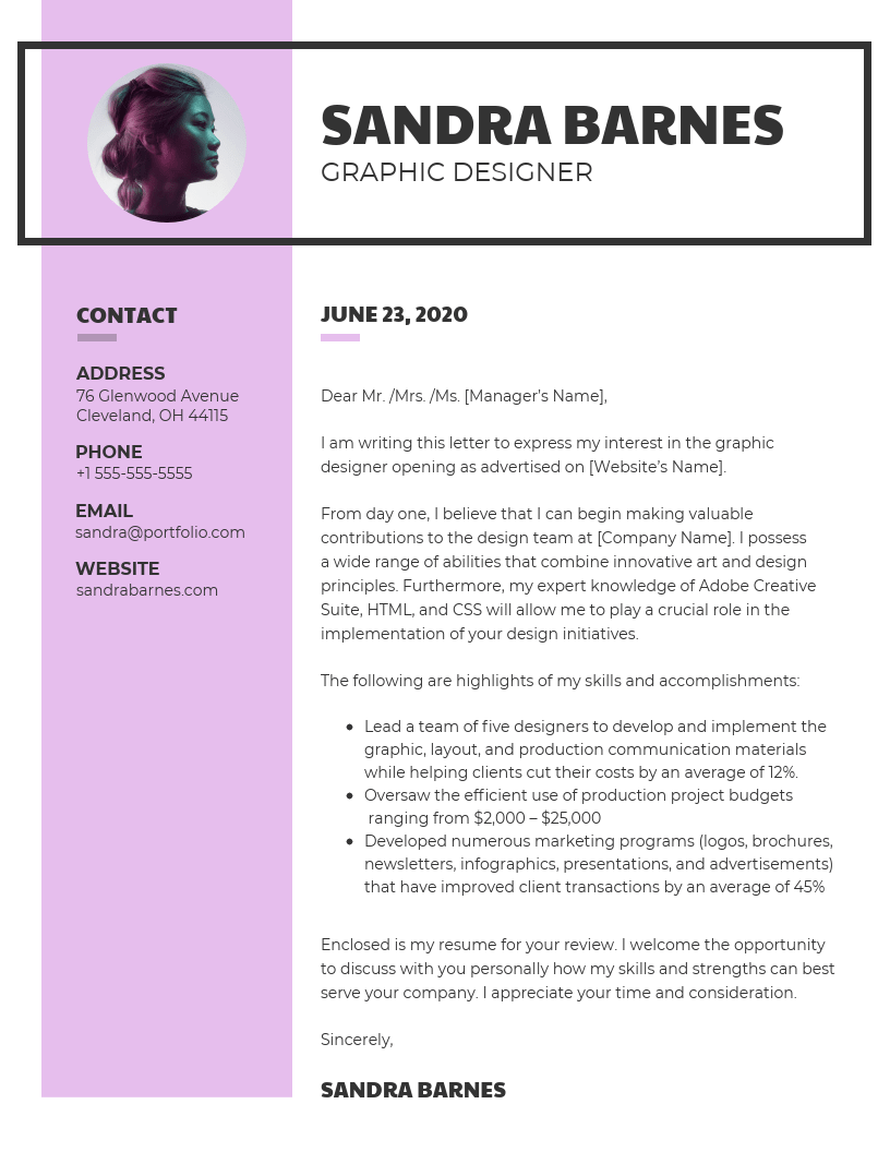 Modern Graphic Design Cover Letter Template