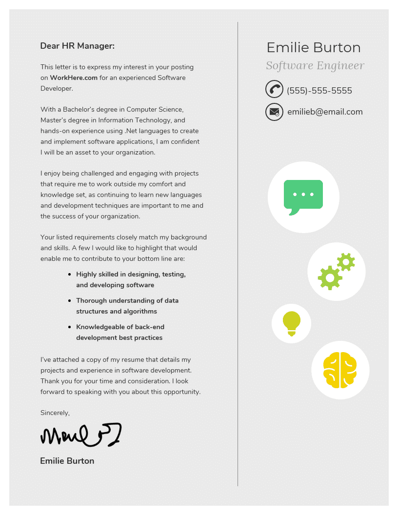 Professional Gray Cover Letter Template