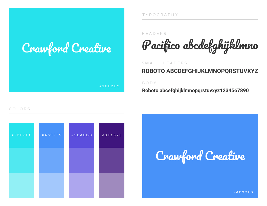 Simple One Page Color Brand Guidelines Templates