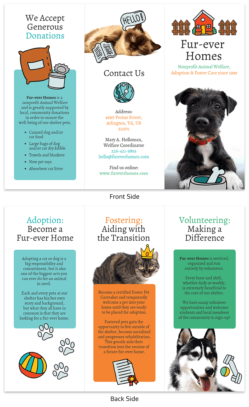 Simple Pet Shelter Ad Brochure Template