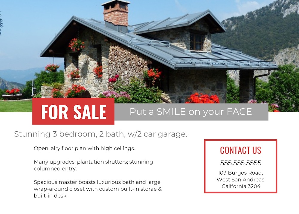 Simple Red Real Estate Flyer Template