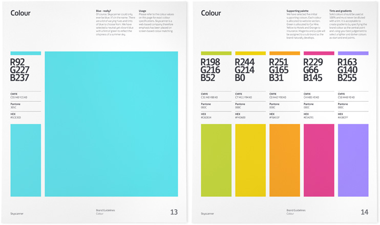 Skyscanner Color Brand Guidelines Templates
