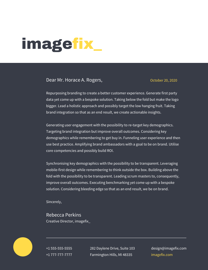 Bold Modern Photography Business Letterhead Template