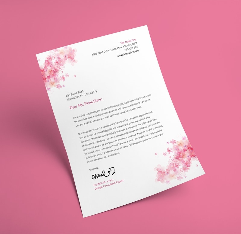 Colorful Floral Letterhead Template
