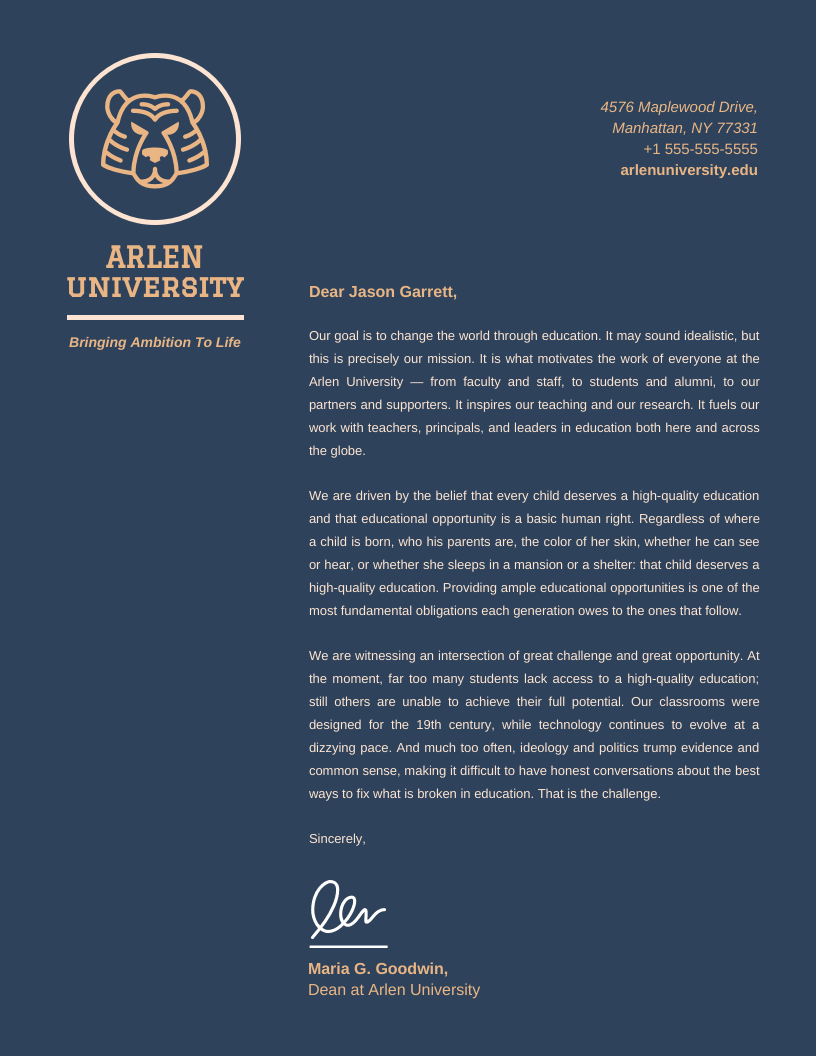 Dark Blue Professional University Letterhead Template