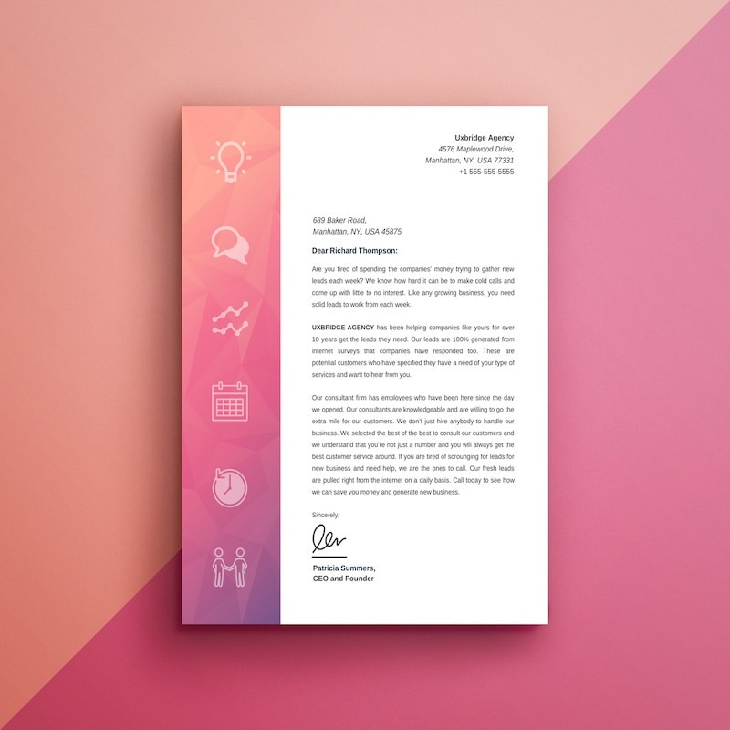 Modern Marketing Company Letterhead Template