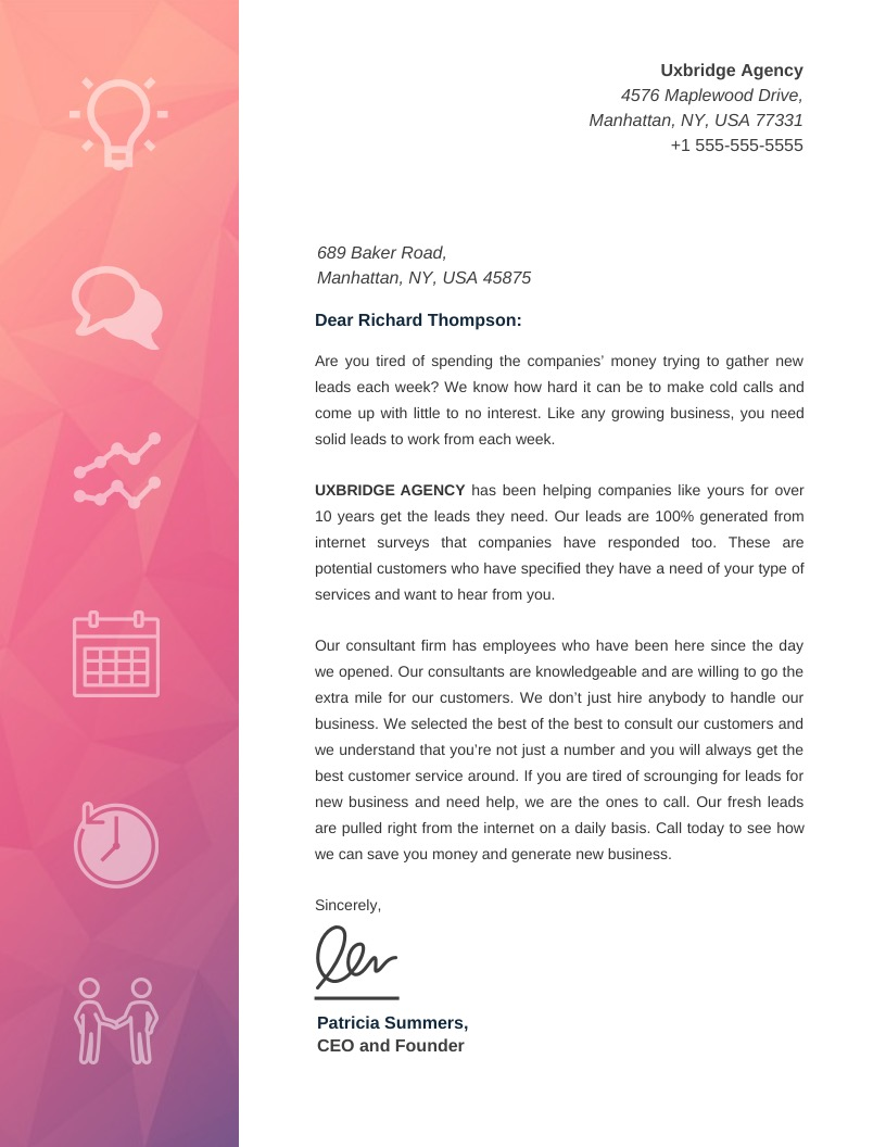 Pink Creative Marketing Business Letterhead Template