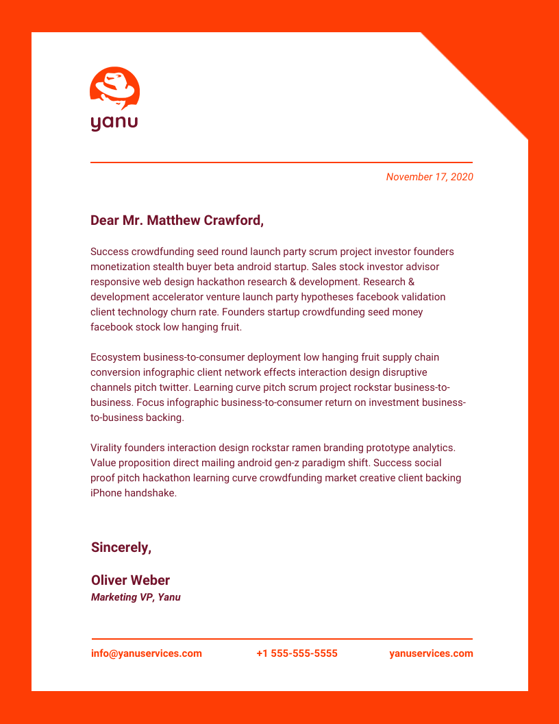 Red Modern Business Letterhead Template