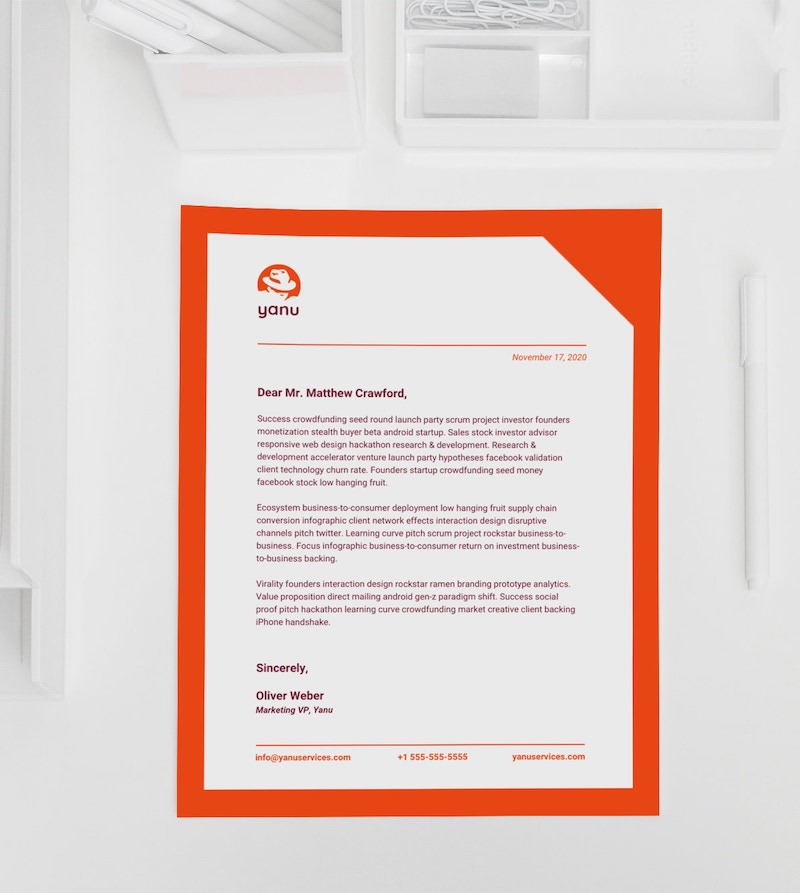 Red Professional Business Letterhead Template