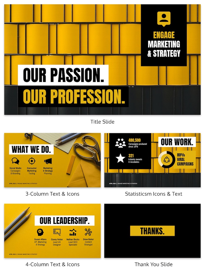 Bold Yellow Marketing Pitch Deck Template