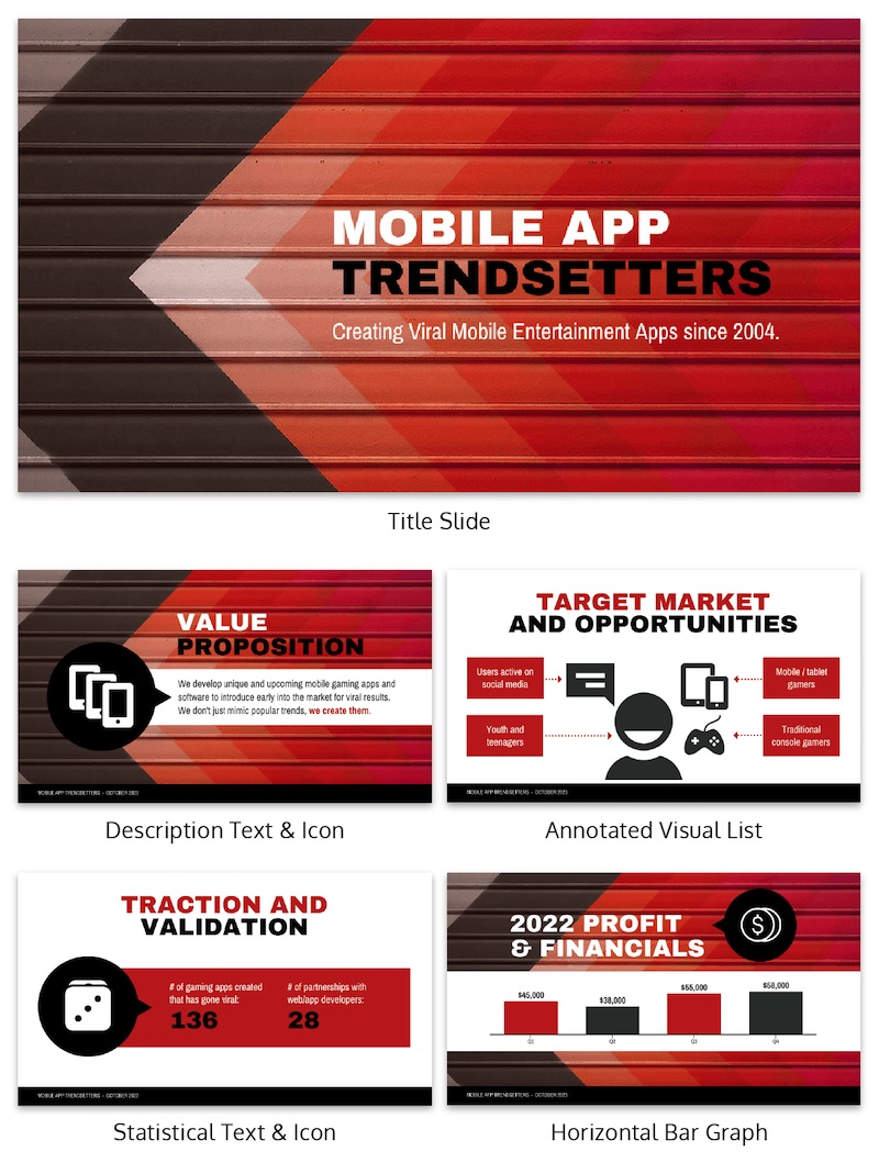 Red Infographic Pitch Deck Template