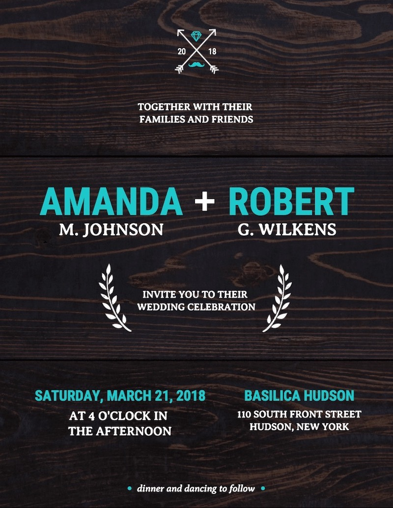 Wood Vintage Wedding Invitation Template