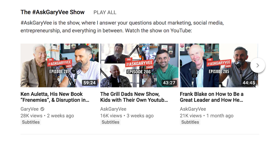 AskGaryVee Show on Youtube