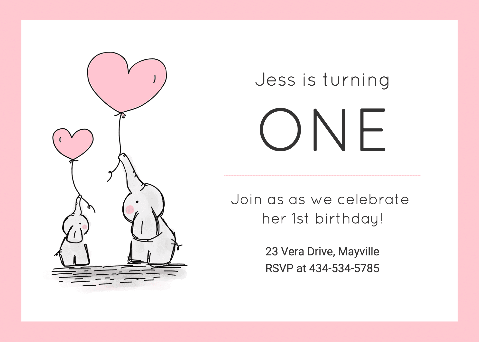 Girls 5st Birthday Invitation