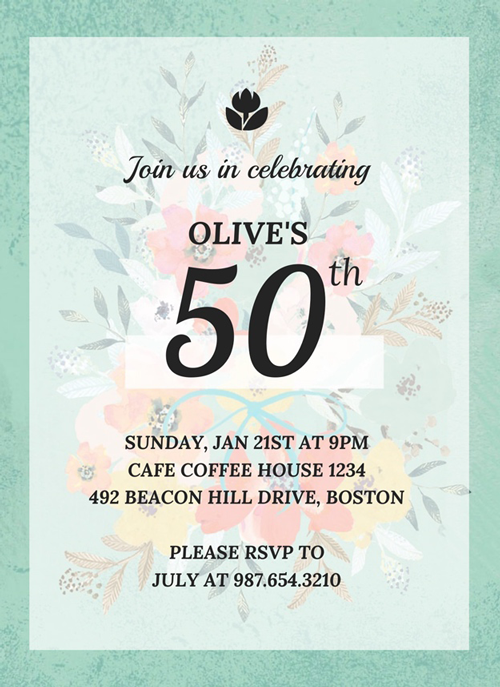 Vintage 50th Birthday Invitation Template Venngage