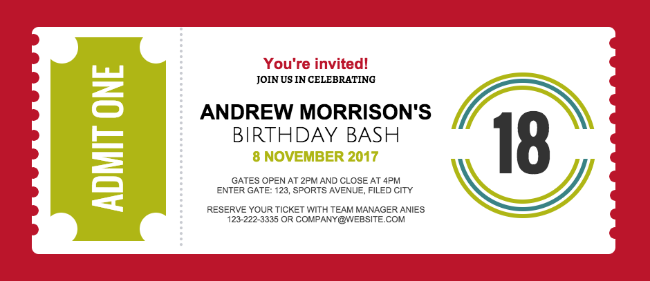 birthday invitation ticket