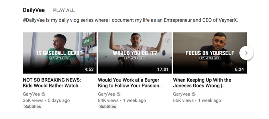 Gary Vaynerchuck Youtube channel