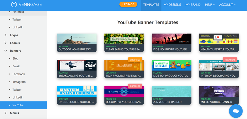Venngage Youtube Banner Templates