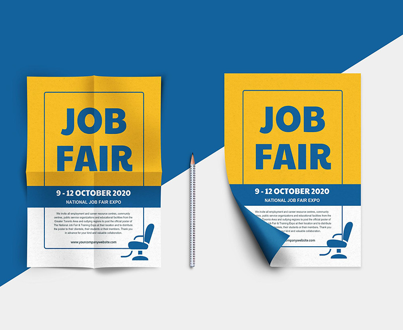 Blue Job Fair Business Event Poster Template1