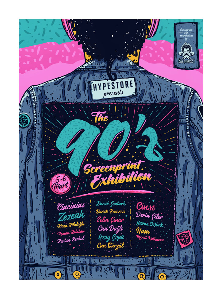 Colorful Vintage 90s Event Poster Template