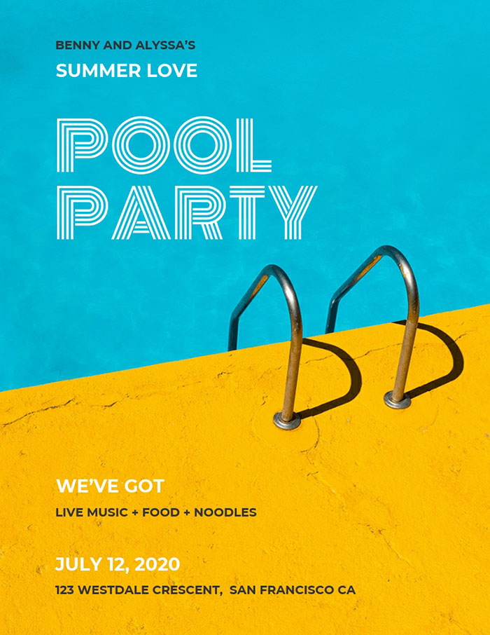 Creative Pool Party Event Poster Template