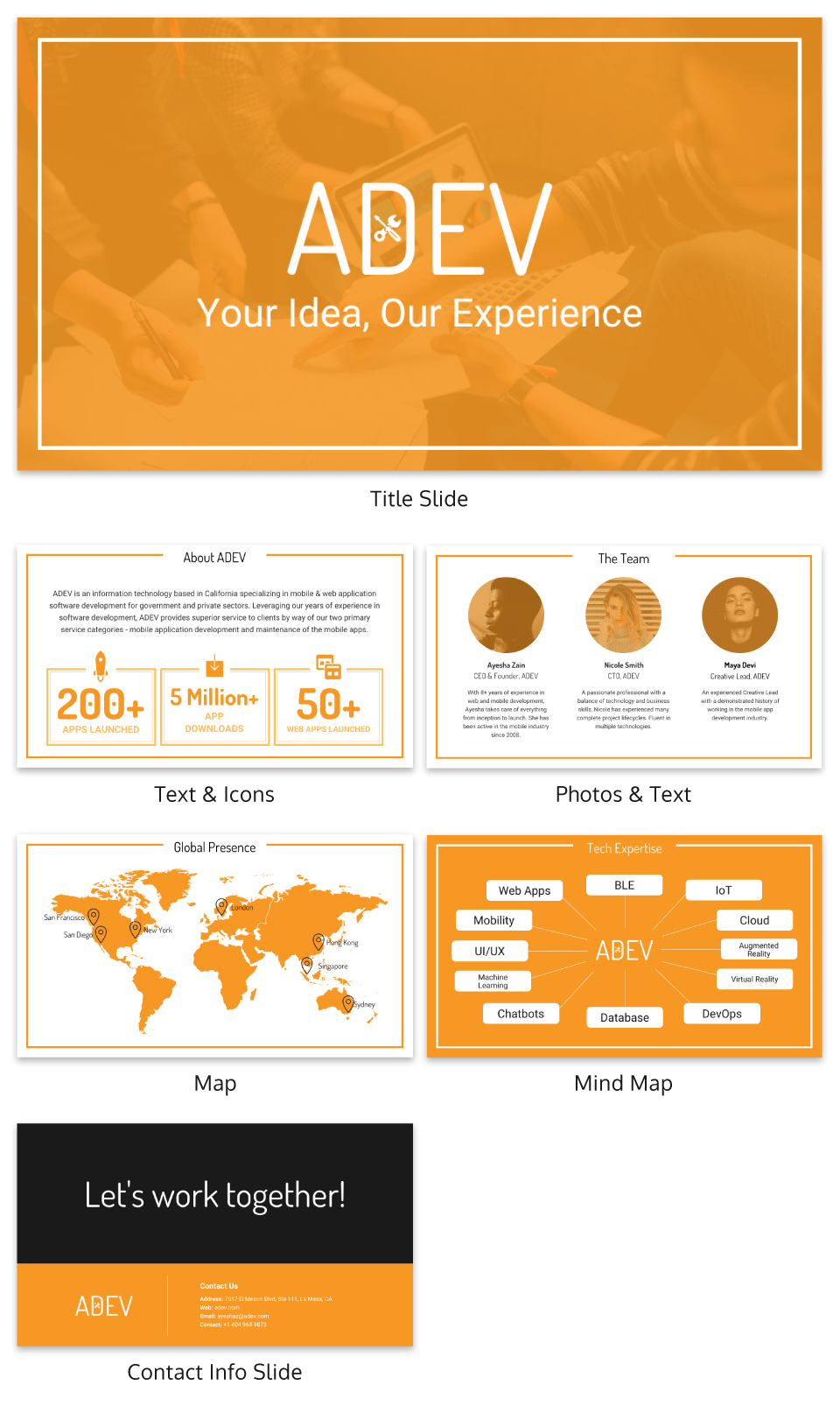 Transparent Orange Business Presentation Ideas