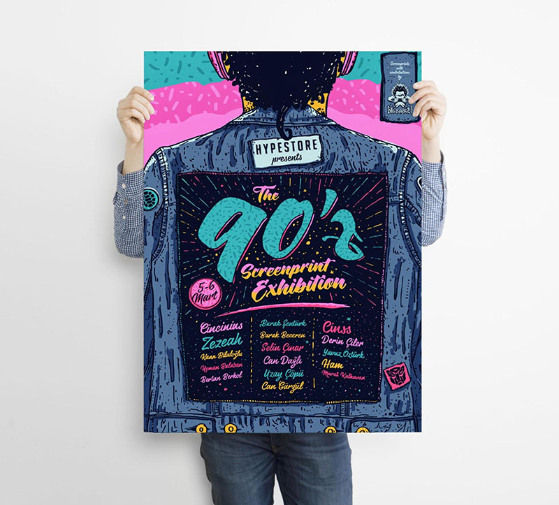 Vintage 90s Music Event Poster Example