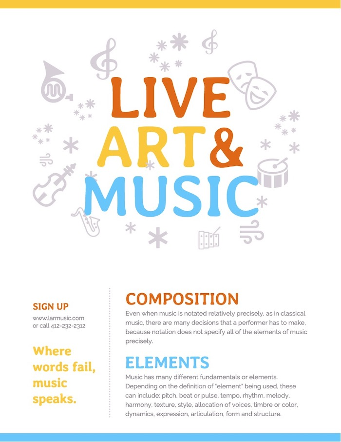 White School Music Event Poster Template