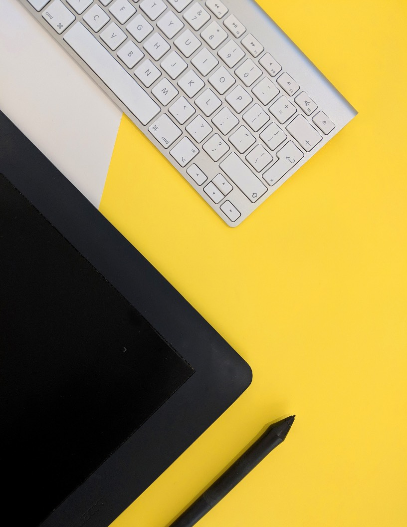 Yellow Desk Flyer Background Image