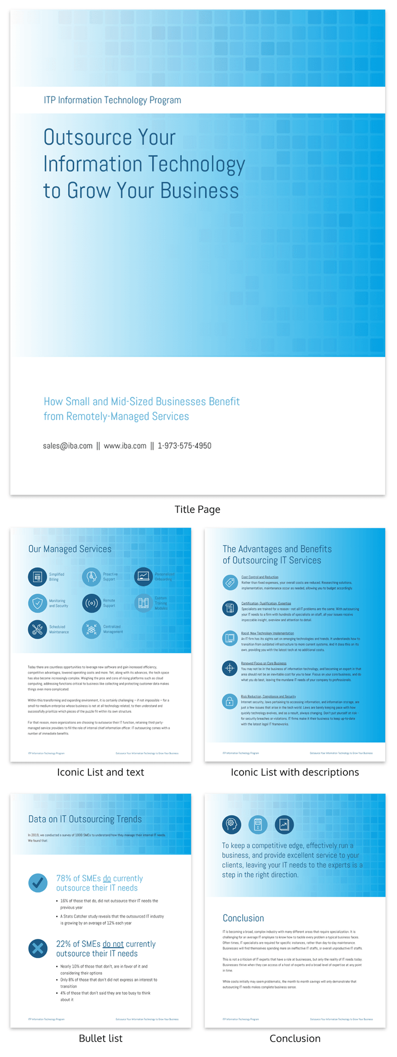 blue information technology white paper template