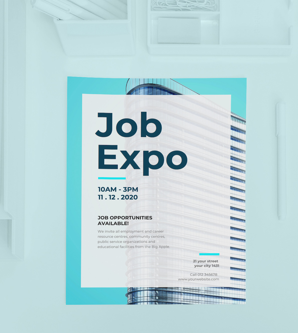 Blue Job Expo Event Poster Idea