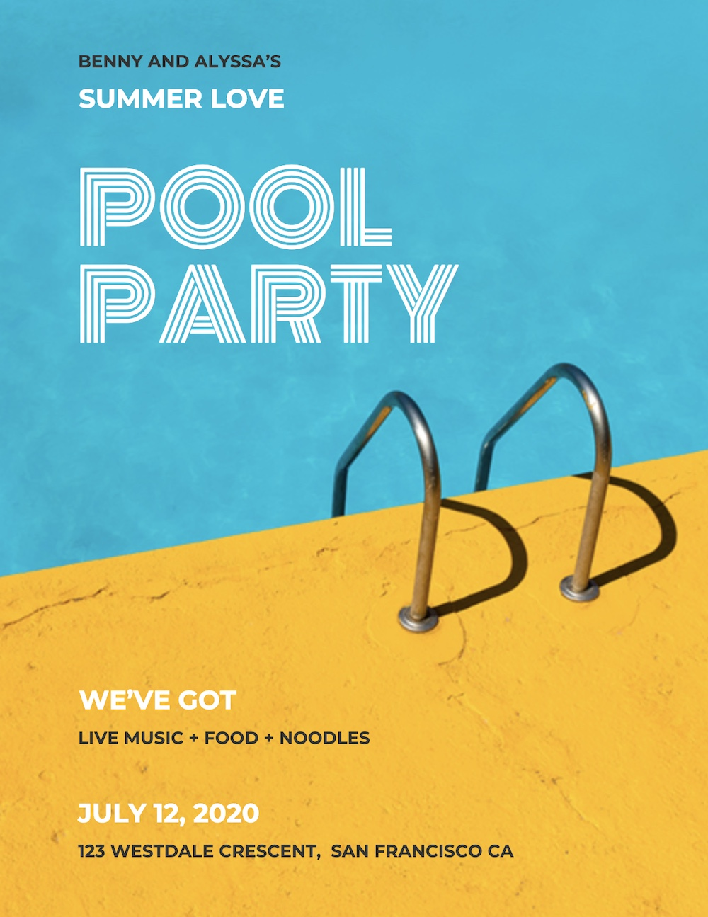 Blue Pool Party Creative Poster Example1