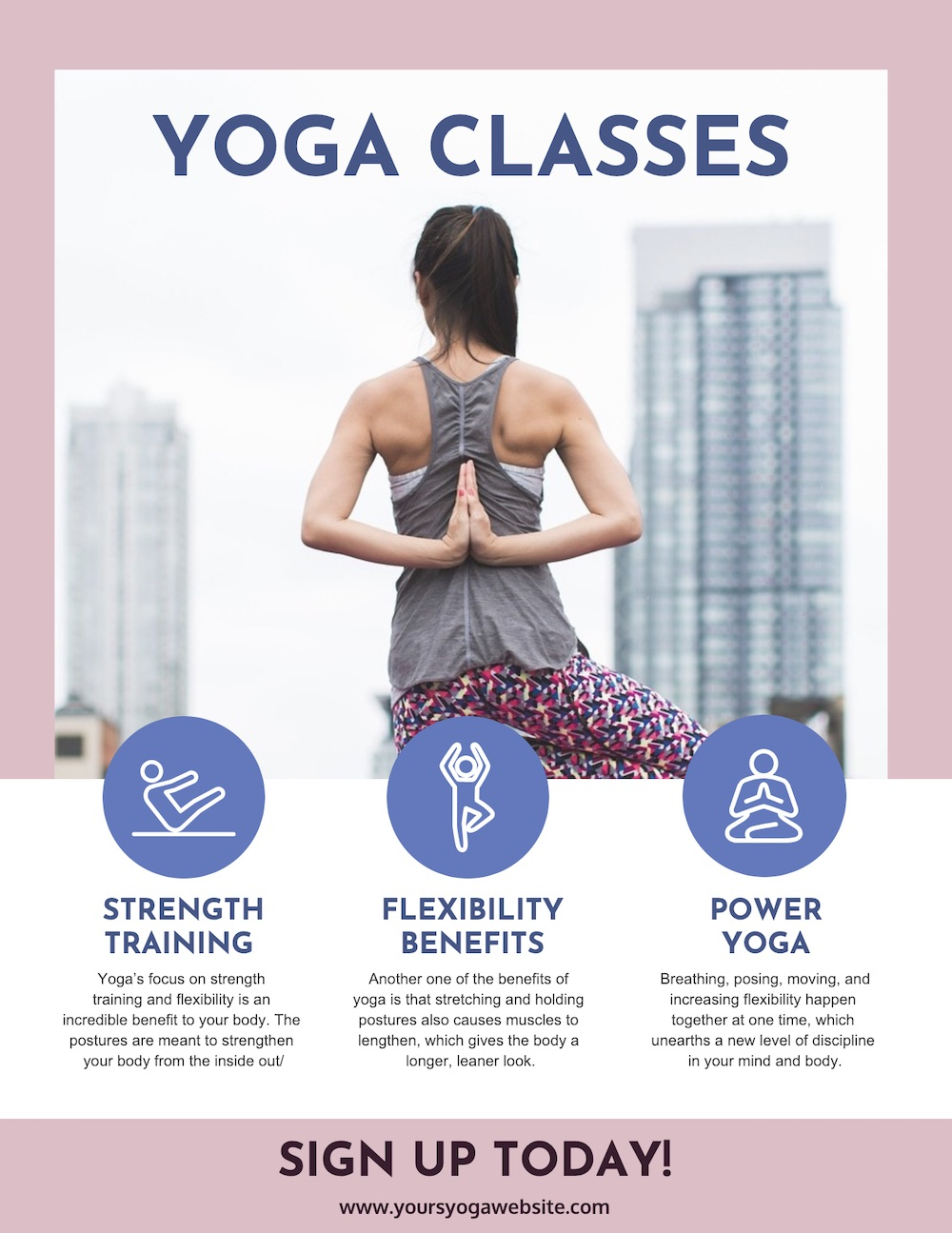 Purple Yoga Poster Template
