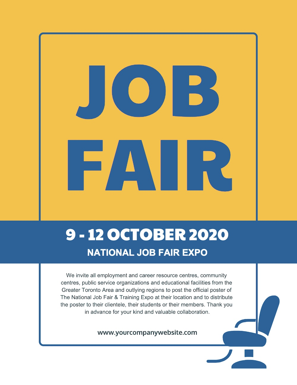 Yellow Job Fair Poster Example Template 1