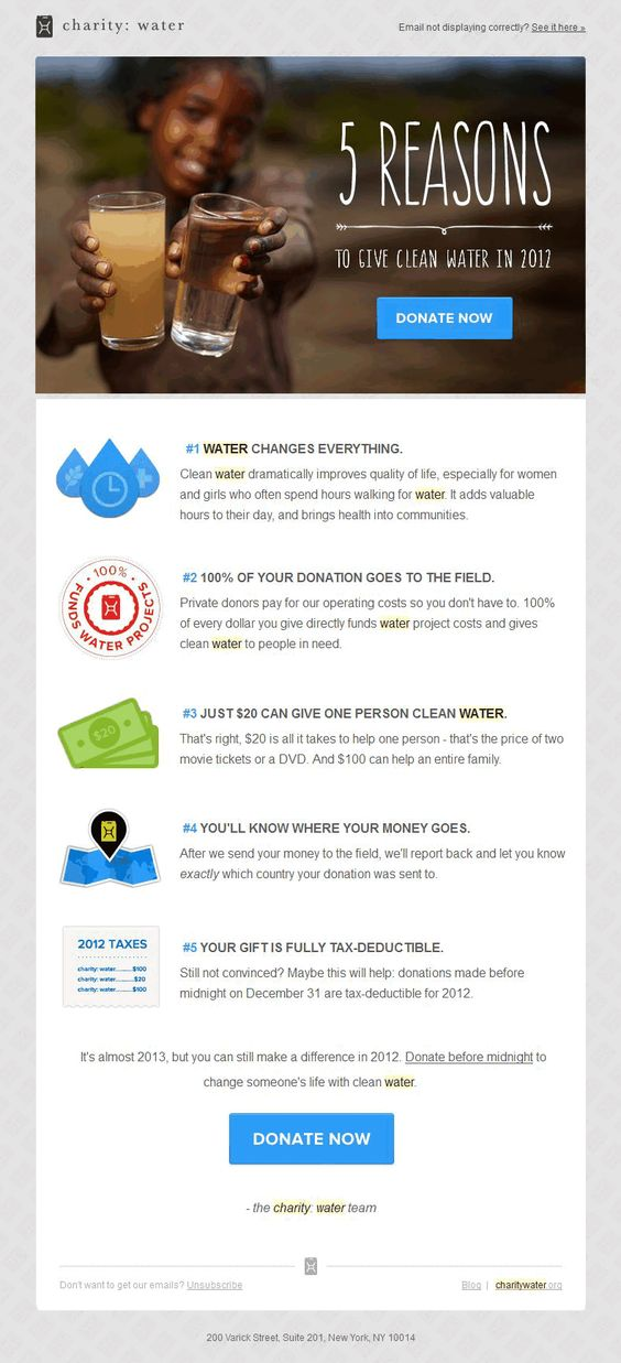 Charity Water Nonprofit Email Newsletter Template