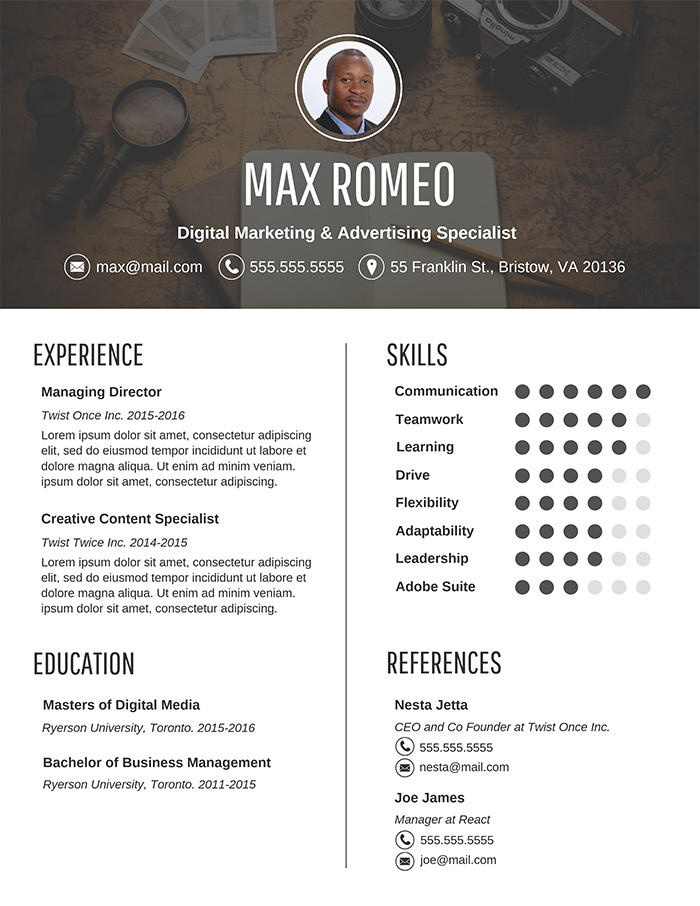 Contemporary Business Resume Design Template